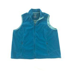 LL Bean Fleece Vest Full Zip Blue Turquoise